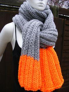 grey knit  scarves orange and grey men's by HandmadeBySusannah, $120.00