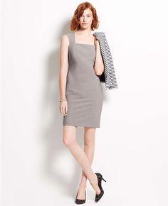 Ann Taylor Tropical Wool Sheath Dress $169 in Heather Gray