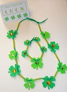 Shamrock necklaces and bracelet to make with the kids for St. Patrick's Day http://thestir.cafemom.com/big_kid/117478/6_st_patricks_day_crafts?utm_source=pinterest?utm_medium=sm&utm_source=pinterest&utm_content=thestir