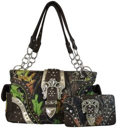 Camo Concealed Carry Purse with Rhinestone Crown Buckle