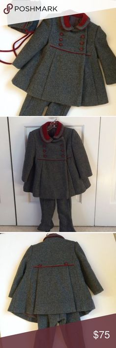 Girls 3 piece outfit Unique ensemble of superior quality. Lined jacket and pants include matching bonnet. Heavy wool/nylon blend. Fit for a princess ! Heather grey and burgundy Lord & Taylor Other