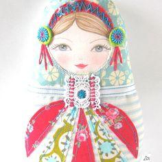 Applique SEW IN Matryoshka doll face set of 3 por zouzoudesign