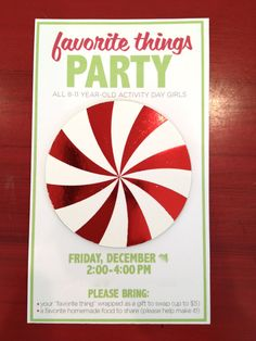 Yw favorite things party- Maybe a good Christmas activity.