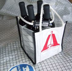 Wine lovers who sail will rejoice at the sight of this unique wine tote. Boat Accessories, Fashion Accessories, Make Your Own Wine, Sailing Outfit, Wine Tote, Nautical Fashion, Red Wine, Cool Things To Buy, Recycling
