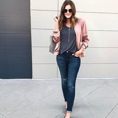 Channeling my inner pink ladies tonight http://liketk.it/2rlXa || Bomber jacket, distressed jeans, loafers, casual outfit
