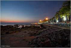 Bangsaen Beach at night by Robythai, via Flickr