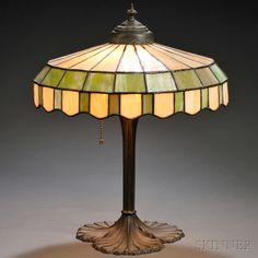 Slag Glass Table Lamp