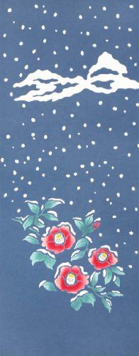 Chusen TENUGUI Yukiwari Tsubaki 37 x 98cm Yukiwari Tsubaki: Breaking and removing frozen snow to expose camellia