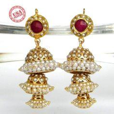 Pearl Gold Jhumka Earrings Bali Bridal Formal Indian Bollywood Pakistani