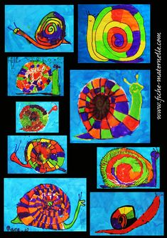 Arts plastiques : Encres de couleurs Art For Kids, Crafts For Kids, Arts And Crafts, Minibeast Art, Snail And The Whale, Snail Art, Tech Art, Kids Artwork, Art N Craft