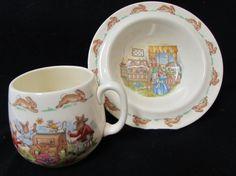 Royal Doulton BUNNYKINS NURSERY SET (Bowl and Mug) Bunny Rabbit BunnyKins Dish Cup Child's Mug China Bone China Porcelain Vintage  Bowl by Buckeye Antiques on Gourmly