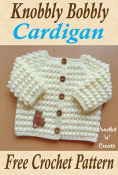 Crochet Cardigan The new arrival will look very smart in this knobbly bobbly cardigan, crochet as coming home prezzie, free crochet baby pattern. Crochet Baby Sweaters, Crochet Baby Clothes, Crochet Cardigan, Cardigan Sweaters, Crochet Baby Cardigan Free Pattern, Cardigans, Baby Sweater Patterns, Baby Knitting Patterns, Baby Patterns