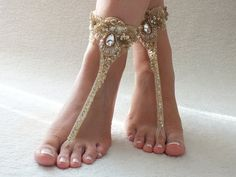 gold lace barefoot sandals, beach wedding barefoot sandals nude shoes, foot…