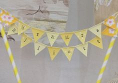yellow-mr-and-mrs-wedding-cake-bunting-by-emma-bunting Wedding Cake Bunting, Wedding Cakes, Wedding Colours, Yellow Wedding, Inspiration, Wedding Gown Cakes, Biblical Inspiration, Cake Wedding, Wedding Cake