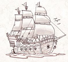 Pirate Ship – a sketch for a How to Draw book. Pirate Ship – a sketch for a How to Draw book. Pirate Ship Tattoo Drawing, Pirate Ship Tattoos, Boat Drawing, Drawing Sketches, Drawing Drawing, Drawing Ideas, Tattoo Barco, Ship Sketch, Boat Illustration