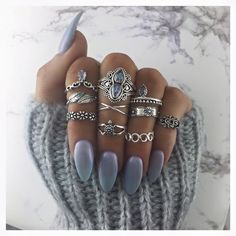 Grey almond nails