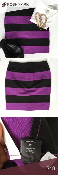 Ann Taylor Purple & Black Pencil Skirt Like new, this pencil skirt is great when paired up with white or black. Great with heels for business attire. Ann Taylor Skirts Pencil