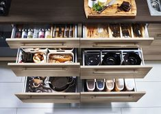 IKEA kitchen inspirations gallery 4 of 20 - Homelife Ikea Kitchen Drawers, Small Kitchen Storage, Ikea Drawers, Ikea Organization, Home Organisation, Ikea Storage, Drawer Storage, Organizing Tips, Jar Storage
