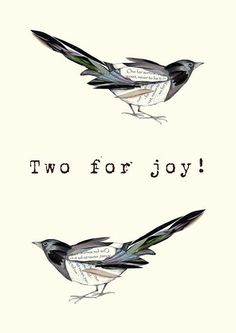 A Fine Art giclee print of a Joyful Magpie from the traditional rhyme One For Sorrow , Two For Joy ... suitable for 6 x 4 inch framing,