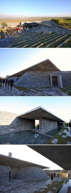 The rugged, austere design of Sancaklar Mosque is inspired by the Cave of Hira and the modesty of mosques built during the earliest years of Islam.  Designed by Emre Arolat Architects (EAA) and built in 2011.