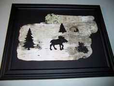 moose silhouette painted on white new england birch bark for sale on etsy..  shop name abnormalcreations2