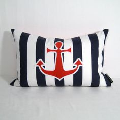 Nautical Pillow Cover - Anchor Red White Blue Stripe - Decorative Cushion - Navy Canopy Striped - 12X18 inch via Etsy