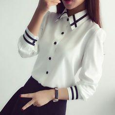 Blusas de las mujeres de Nueva Llegada de La Manera 2016 Otoño Estilo Coreano de Manga Larga Con Lentejuelas Gasa de Las Señoras de Oficina Camisa Blanca Azul Tops Formales
