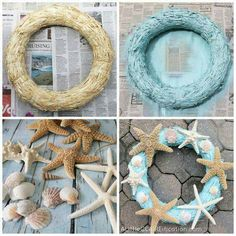For my easy Starfish Wreath I simply used a straw wreath that I had found at the craft store a while back, some aqua spray paint and the leftover starfish I had from my DIY Starfish Garland. Hot glued those bad boys on with a few seashells and voila! Seashell Projects, Seashell Crafts, Beach Crafts, Summer Crafts, Starfish Wreath, Nautical Wreath, Coastal Wreath, Beach Wreaths, Coastal Decor