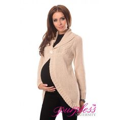 Warm Long Sleeve Button Closure Maternity Cardigan 9004 Cream Showcase your beautiful belly this season with our warm long sleeve maternity cardigan.  Designed to underline the beautiful feminine, pregnant silhouette this cardigan is perfect for those cooler days as an extra layer.
