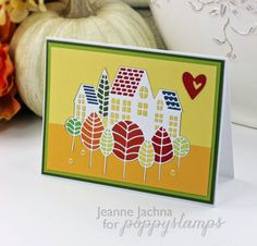 Harvest Home All die pieces are inlaid.. yes.. every little piece LOL!   Poppystamps dies Stitched Heart Trio, Forest Village  Read more: http://www.splitcoaststampers.com/gallery/photo/2667185#ixzz3nNiObr8a