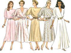 1980s Dress Pattern Loose Fitting Mock Wrap Butterick by SelmaLee