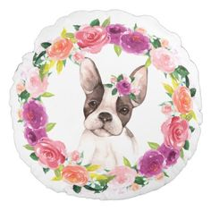 French Bulldog with Floral Wreath Pillow - dog puppy dogs doggy pup hound love pet best friend
