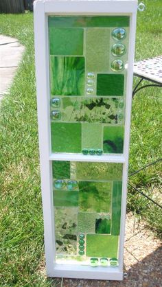 This Garden Glass Window is called 'Geo Green '.