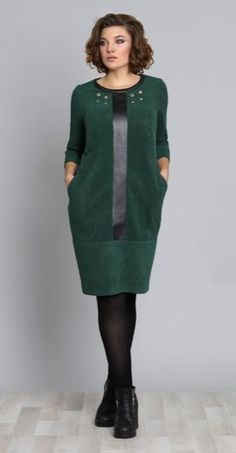 Dress Galean Style, green (model – Belarusian knitwear in the Sewing Tradition online store - Kleidung Ideen Hijab Fashion, Fashion Dresses, Cocoon Dress, Matching Couple Shirts, Hijab Style, Mode Chic, Jeans Rock, Mode Vintage, Mode Outfits