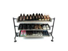 Pipe Shoe Rack Shoes Rack Shoe Organizer Wood Shoe Rack   Etsy Industrial Shoe Rack, Rustic Industrial, Shoe Storage, Storage Spaces, Shoe Rack For Sale, Wood Shoe Rack, Shoe Racks, Consoles, Nintendo Console