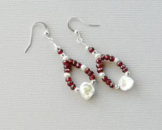 Pearl Jewelry Pearl Earrings Garnets SP by AdornmentsByEloise