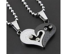 "New Romantic ""Have Mutual Affinity"" Heart Titanium Steel Lover Necklace"