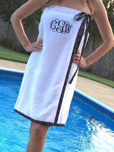 SPA WRAP/ Bath Wrap/ Towel Wrap/ Bridesmaid Gift with trim and ribbon/bow- black and white- Choose Your Own Colors!- Size XS,S,M or L, Little Mermaid Birthday, Little Mermaid Parties, Pijamas Women, Mermaid Party Favors, Techniques Couture, Towel Wrap, Putting On Makeup, Ribbon Bows, Sewing Clothes