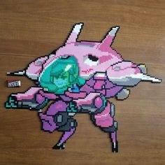 Overwatch D. Va Pixel Spray Completed! (perler, beads)