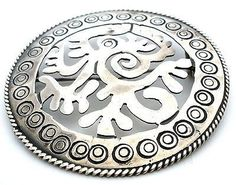 Sterling Silver Taxco Serpent Brooch Vintage Hand Made Aztec Maya Pin Mexican