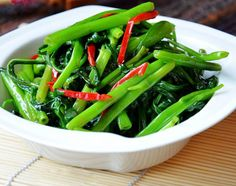 Stir Fry Water Spinach with Red Pepper Strips