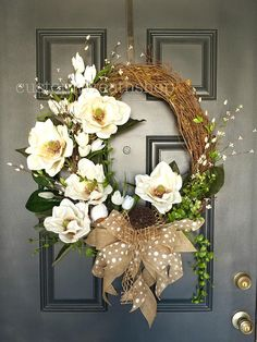 Signature Magnolia Wreath, Spring Magnolia Wreath, Best Selling Wreaths Magnolia wreaths are one of the most beautiful foliage in nature. This elegant magnolia wreath incorporates large, realistic, artificial magnolia flowers and leaves on a grapevine oval base. A tasteful and