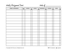Daily Assignment Sheet This Assignment Sheet Is Broken Into Columns
