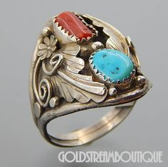 NAVAJO STERLING SILVER CORAL TURQUOISE FEATHERS FLOWERS WIDE RING SIZE 11.25