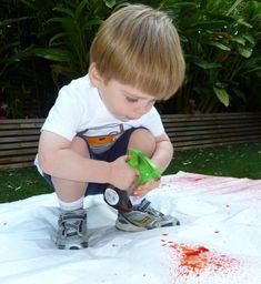 Water bottle spray paint art.