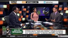ESPN First Take September (9-8-2016) - RG3 Robert Griffin III Named Brow...