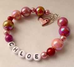 Little Girls Bracelet Customize Heart Charm Pink & Red. $14.00, via Etsy.