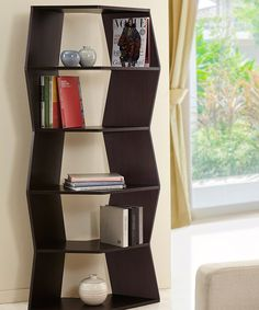 Look at this Walnut Albert Geometric Bookcase on #zulily today!