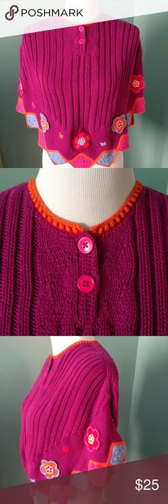 """Hanna Anderson poncho-type top Cable knit top in very good condition. Color is darker purple than the picture. Shoulder 15, length 22"""". This a girl's size Hanna Andersson Tops"""