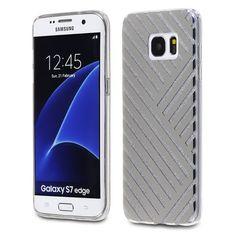 Samsung Galaxy S7 Edge - TPU PC Silver Monochrome Stripes Design on Silver Glitter Back Cover